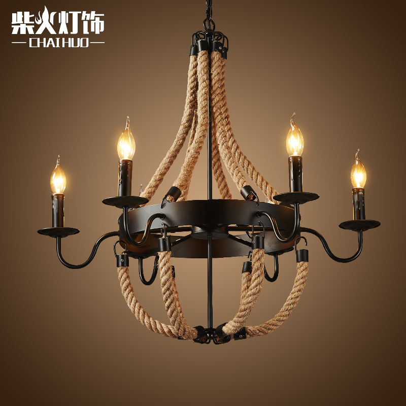 Firewood simple hemptwist chandelier creative personality retro american country industrial wind chandelier clothing store cafe bar meal
