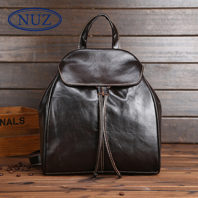 First layer of leather ms. nuz student minimalist casual shoulder bag 2016 korean version of the new travel bag backpack 3075