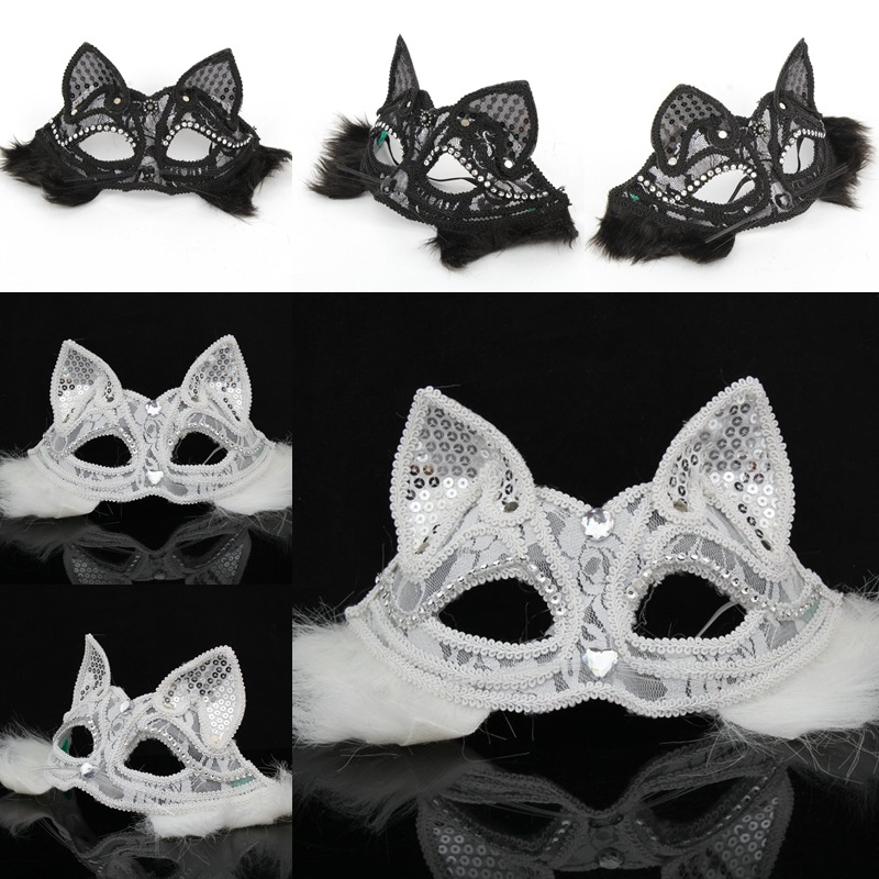 Five beshimova contention blessing black lace sexy cat face mask fox mask halloween mask half face mask animals