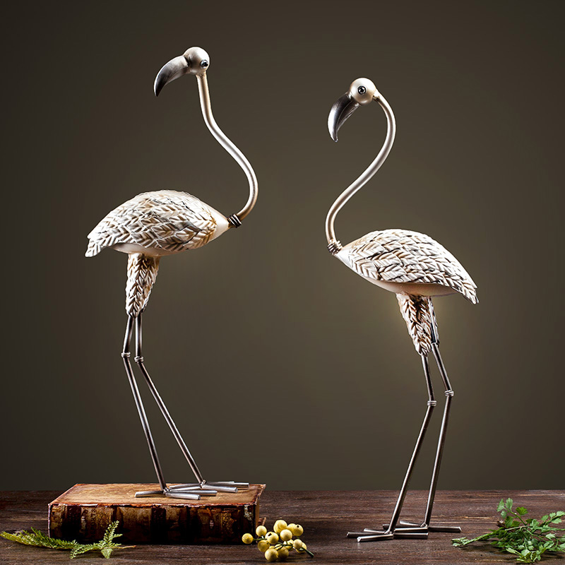 Flamingo euclidian wrought iron ornaments home decorations modern minimalist living room tv cabinet ornaments crafts