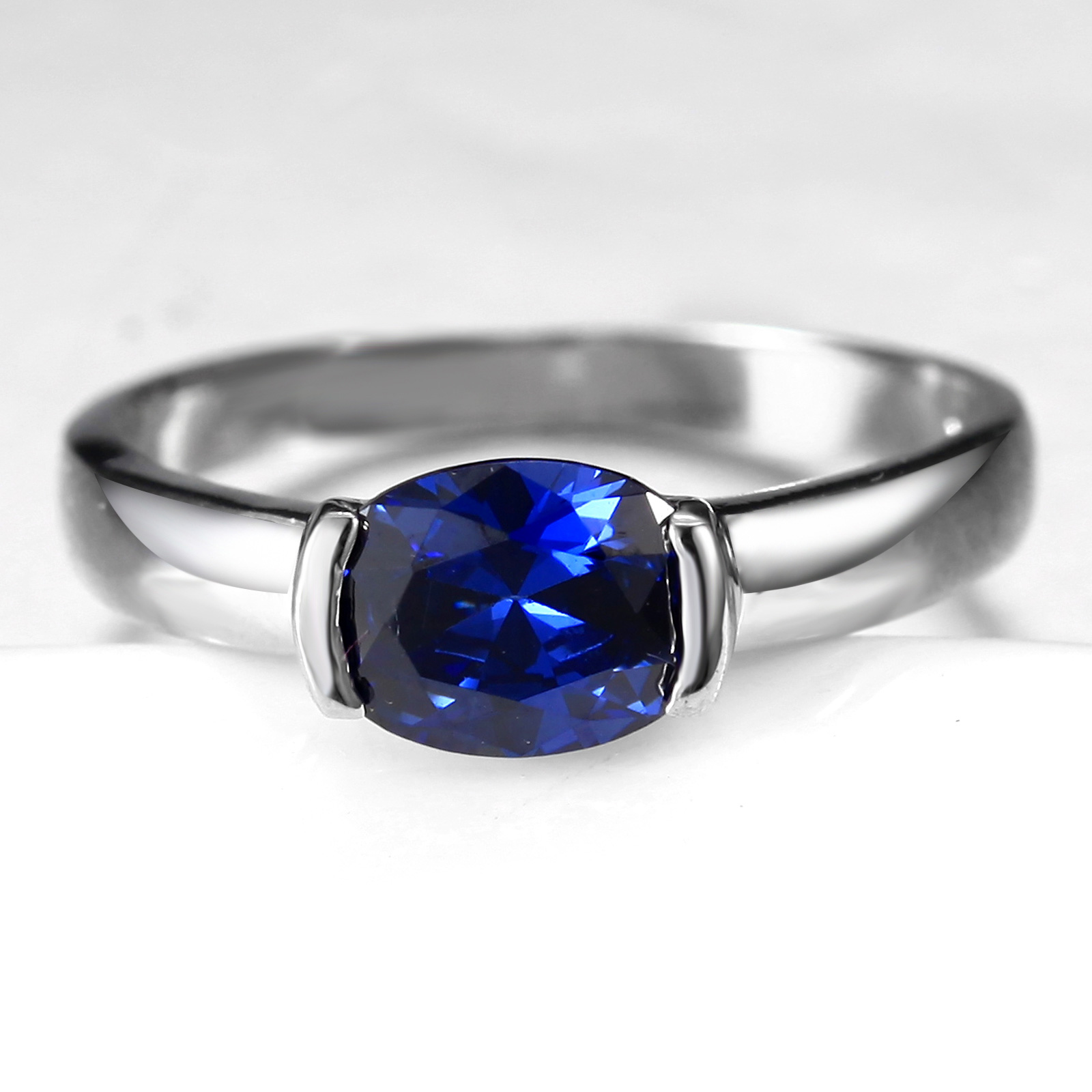 Flammable volcano fashion synthetic blue crystal ring female korean influx of people zircon crystal ring finger ring jewelry