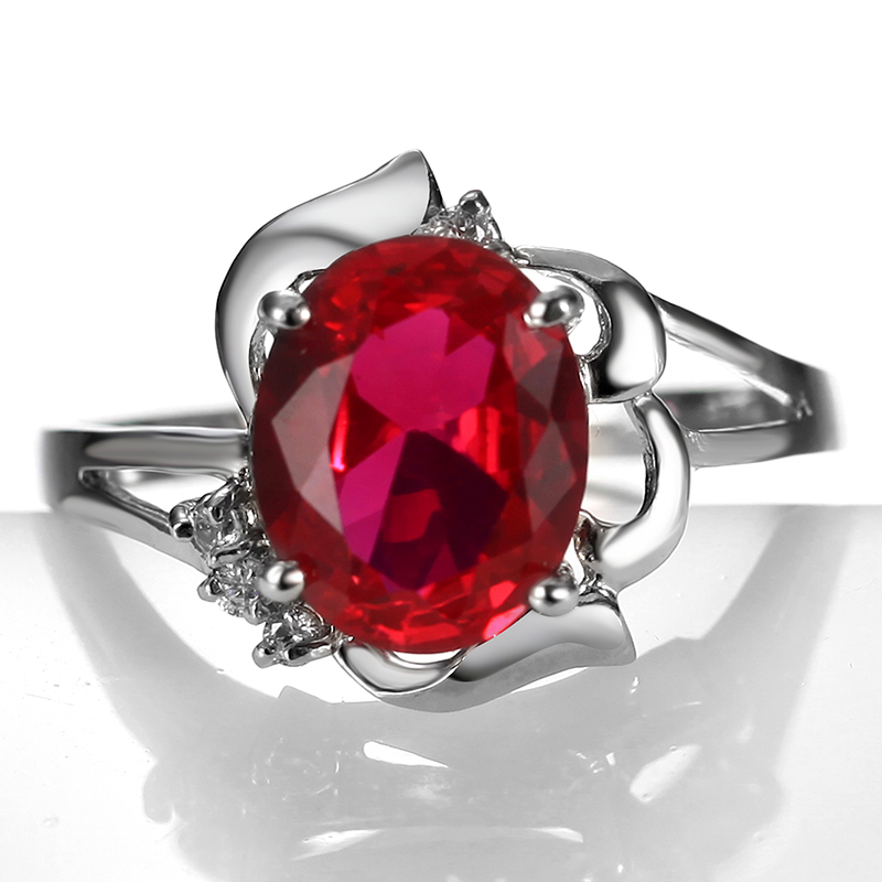 Flammable volcano synthetic red zircon ring fashion female models in europe and america hipsters middle finger ring finger ring crystal jewelry