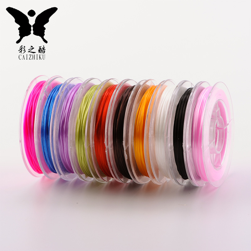Flat shape multicolor crystal elastic line string bracelet to wear elastic rubber band line diy handmade jewelry bracelets transparent lines