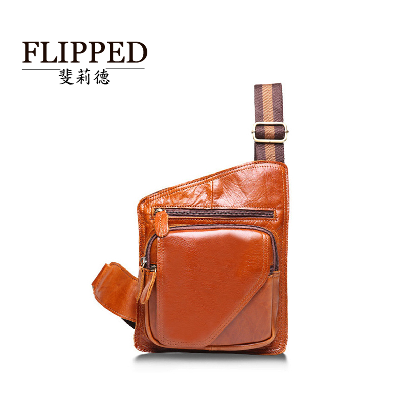 Flipped斐莉de crazy horse hide leather first layer of leather men's chest pack casual shoulder messenger packet retro male package