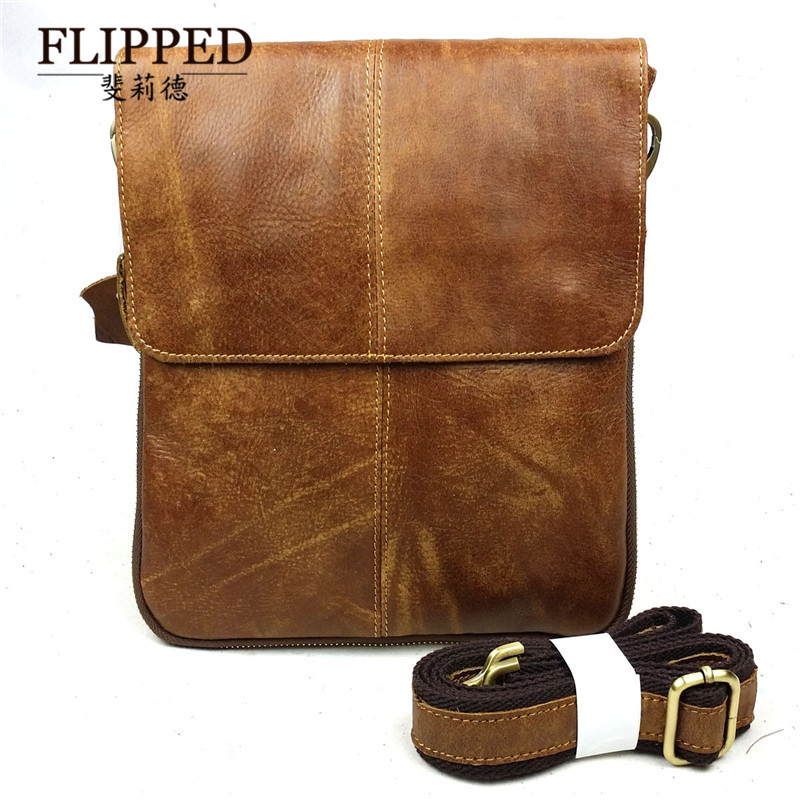 Flippedæèdeæède men's casual shoulder bag messenger bag european and american fashion first layer of leather bag