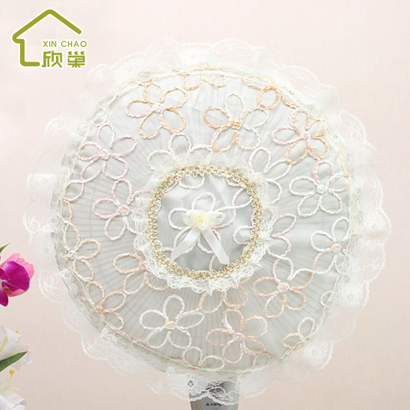 Floor fan cover dust cover pastoral lace fabric home accessories round square fan cover heating cover the whole package