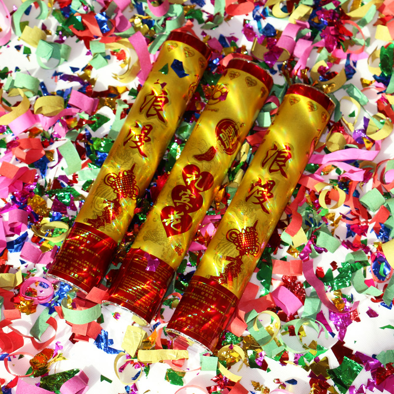 Flora wedding supplies golden fireworks festive romantic confetti fireworks salute ribbons wedding fireworks tube