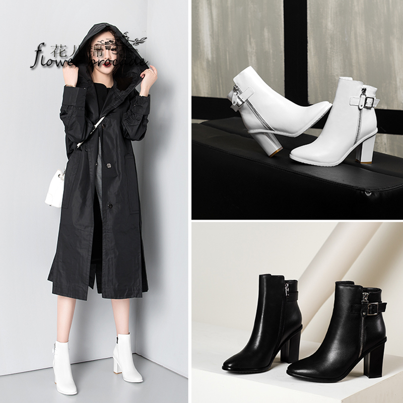 Flower brocade autumn and winter new single solid color zipper velvet boots in black and white leather high with thick with round female boots