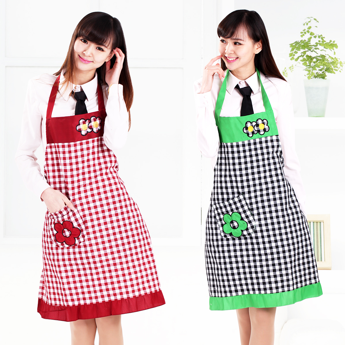 Flower girl kitchen aprons korean fashion cute sleeveless apron tracksuit anti wear aprons antifouling 2 free shipping