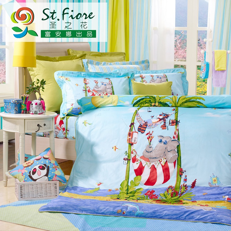 Flower st. anna rich textile 4 cotton bed linen family of four sets of cartoon children sea paradise
