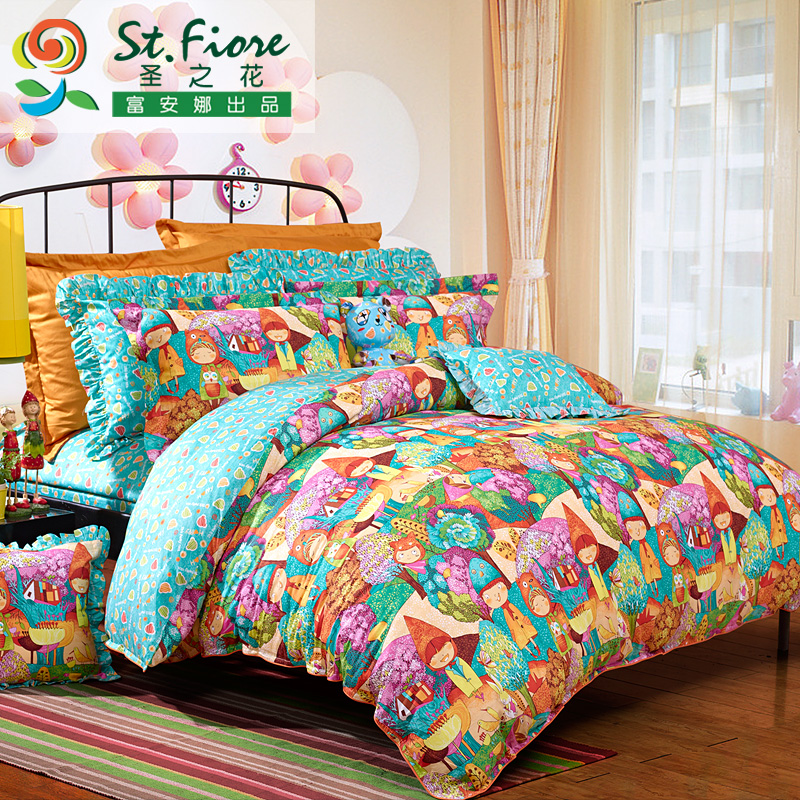 Flower st. textile cotton children's cartoon cotton denim quilt cotton linens suite magic garden