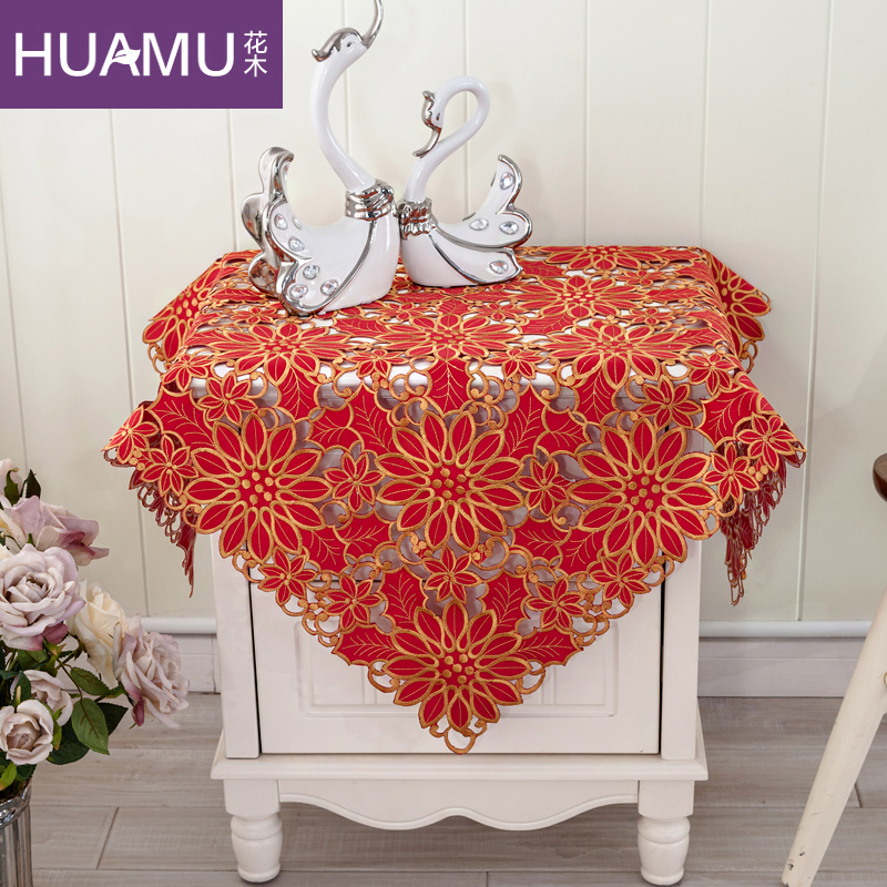 Flowers and festive red embroidered wedding bedside cabinet hood refrigerator air conditioning tv cover cloth cover towel multi bugaboo