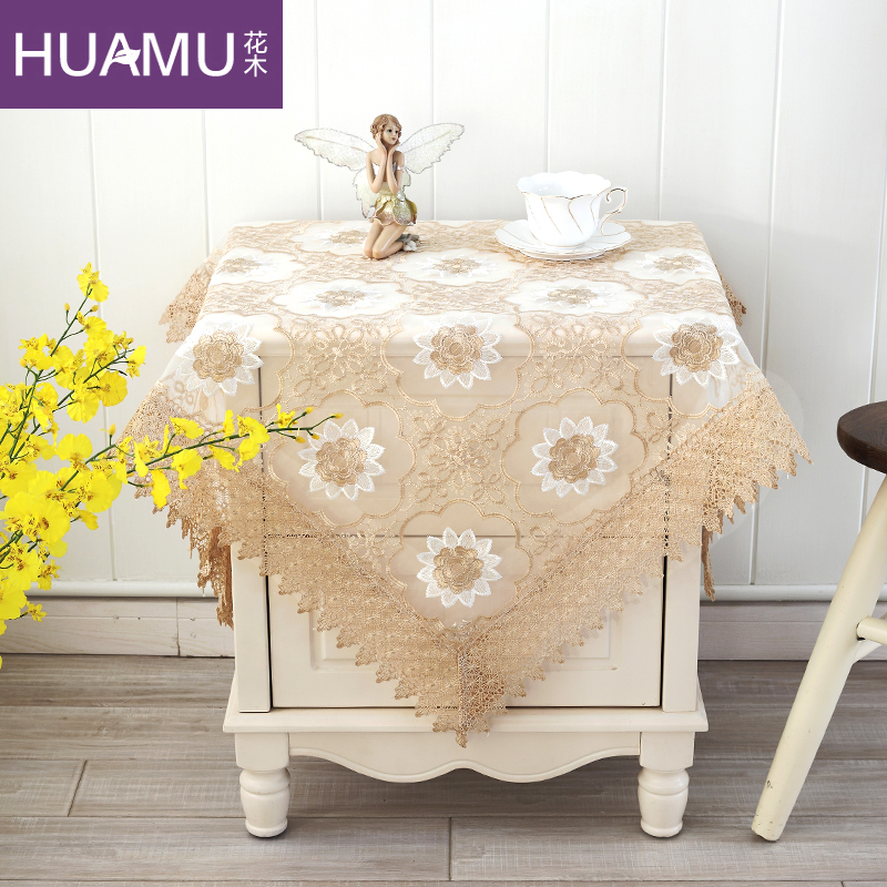 Flowers korean garden bedside cabinet bedside cabinet cover multi tablecloth cover towel refrigerator tv cover cloth lace lotus flower