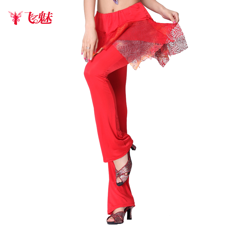 91b3189f3f2 Get Quotations · Fly charm new latin dance practice pants pants pants  square dance pants milk silk knit yarn