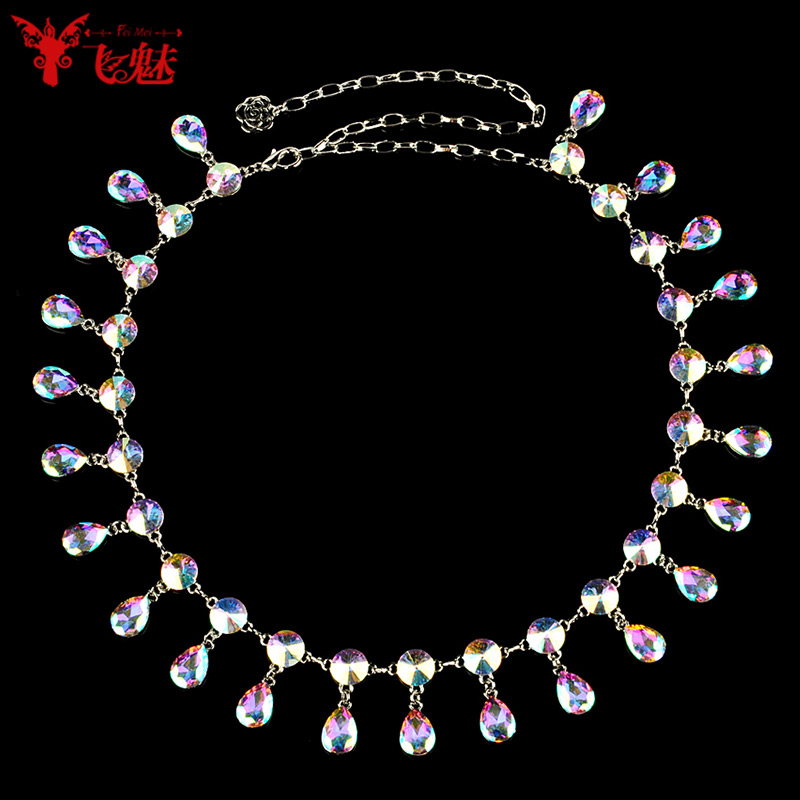 Fly charm symphony diamond belly dance waist chain color droplets transparent wild costumes waist chain dance practice learning