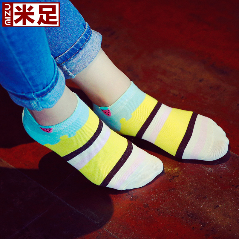 ç±³foot female summer socks cotton socks to help low socks sports socks thin section socks striped socks ms. socks 5 pairs of dress strawberry