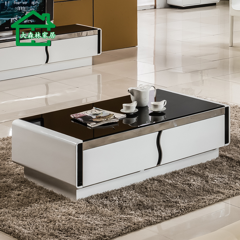 Get Quotations · Forest Furniture Coffee Table Minimalist Modern Small  Apartment Creative Coffee Table Rectangular Steel Tempered Glass Coffee