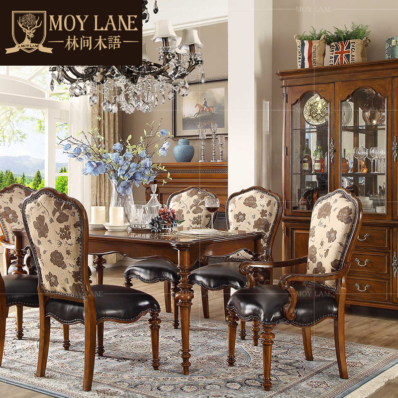 Forest wood language american furniture solid wood dining tables and chairs combination of american retro continental dining table dining table small apartment xm