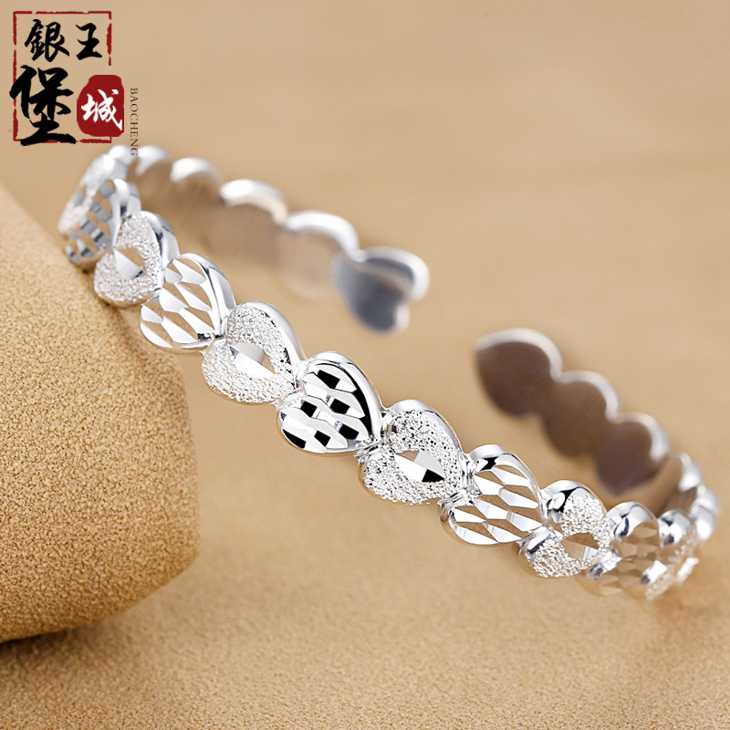 Fort king city silver silver bracelet 999 sterling silver bracelet female love matte silver bracelet silver bracelet to send his girlfriend a gift