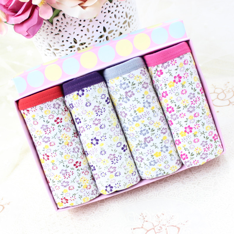 Four gift boxes with 4 new high waist sweet pastoral style xl plus obesity sister girl pure cotton underwear