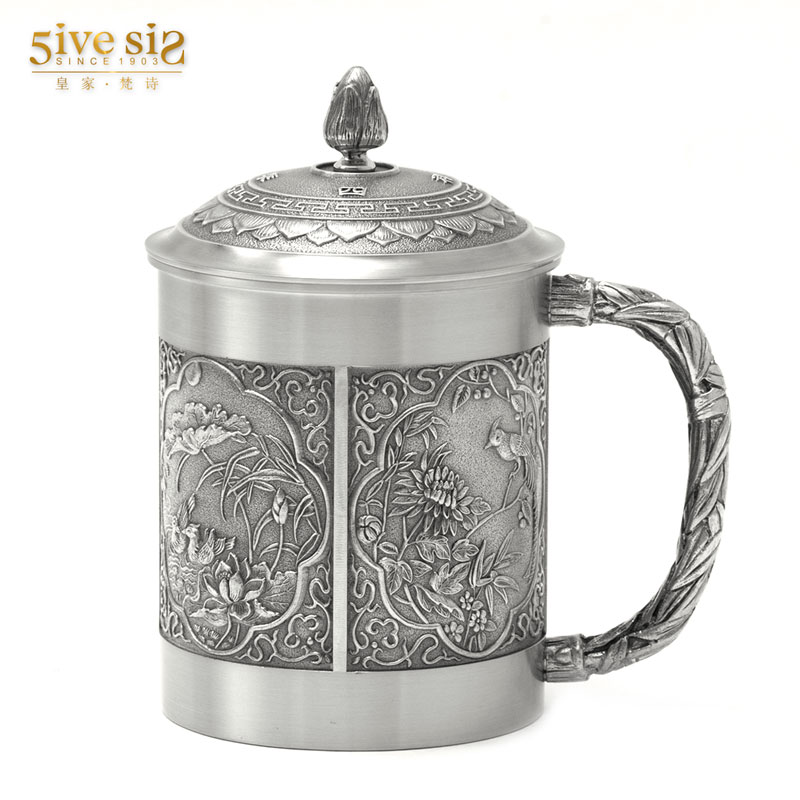 Four seasons flower handmade tin royal sanskrit poetry thailand exquisite tea cup tea cup with lid office