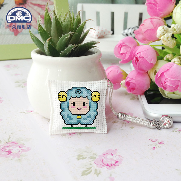 France dmc cross stitch embroidery sided dust plug phone pendant jade meter of rope keychain suite cute lamb