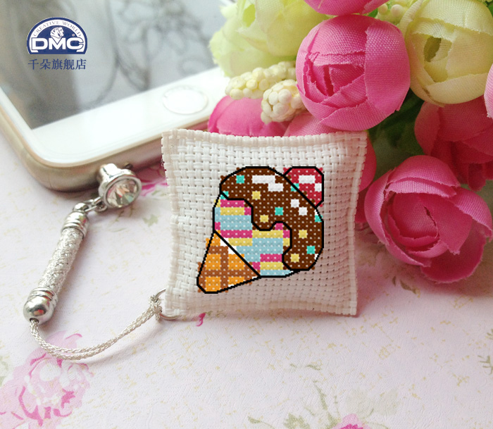 France dmc cross stitch embroidery sided jade meter of rope keychain pendant dust plug kit ice cream lollipops