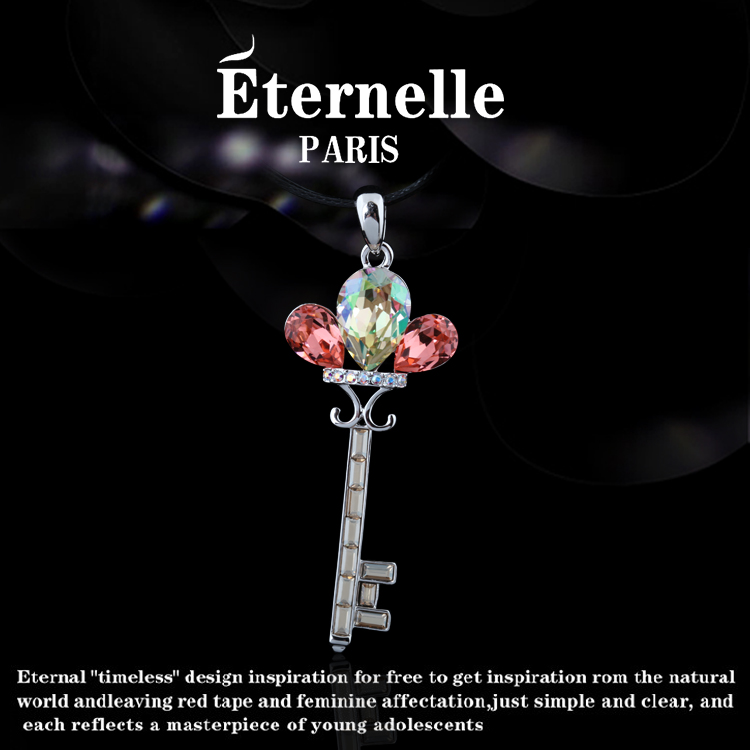 France eternelle using swarovski elements crystal pendant key pendant jewelry decorative necklace