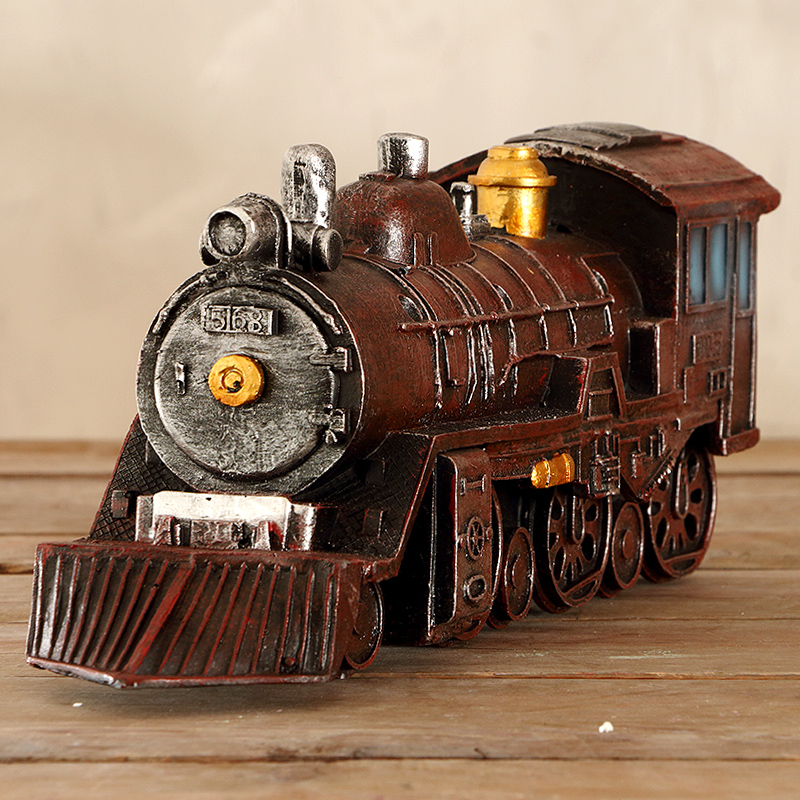 France mu town vintage train model of creative personality bar cafe shop window ornaments resin home decorations