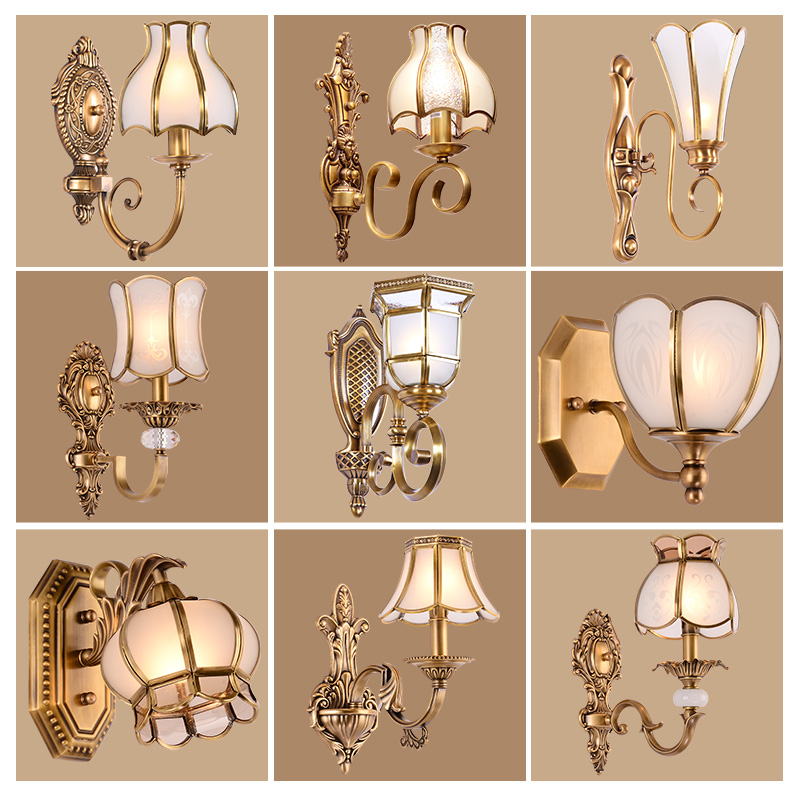 Freda european copper wall lamp wall lamp warm bedroom bedside lamp american decorative lamps lighting aisle stairs corridor
