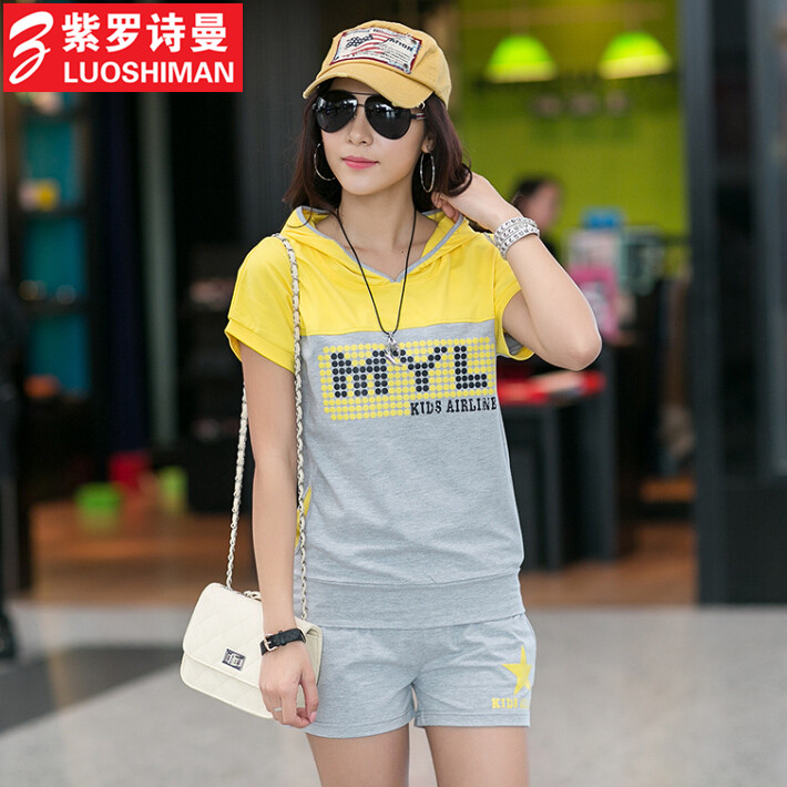 Free shipping 2015 summer piece large size women korean loose short sleeve shorts sports suit influx of women