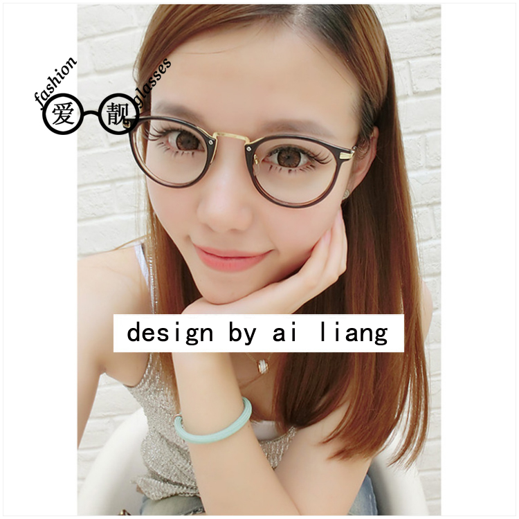 Free shipping 2016 fashion influx of people retro round plain mirror frame metal leg frame glasses plain mirror male and female models