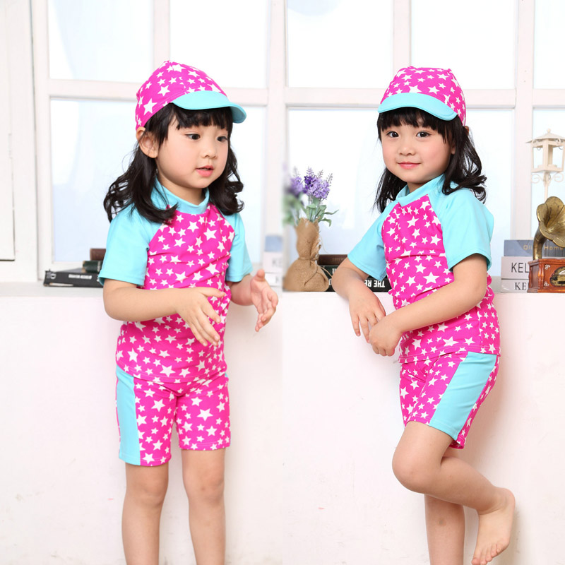 Free shipping 2016 years old girls split swimsuit children swimsuit baby boy short sleeve female boxer swimsuit with hat