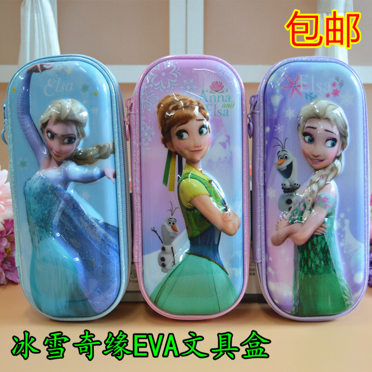Free shipping authentic disney frozen stereo box eva zipper multilayer stationery pen bag pencil case stationery bags