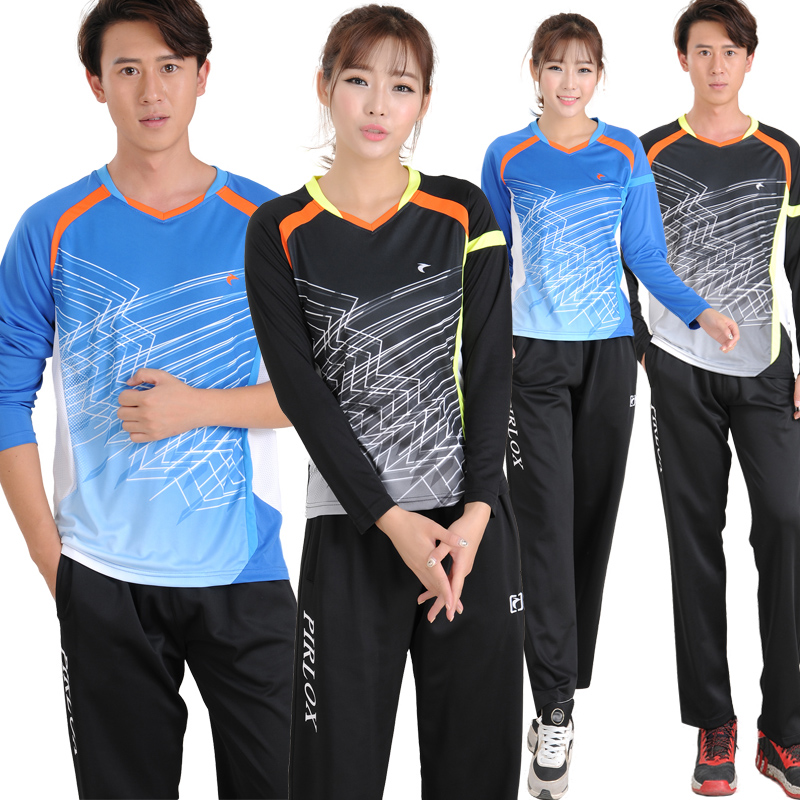 Free shipping badminton clothing long sleeve/short sleeve t-shirt lovers male and female models thick pants suit send roux