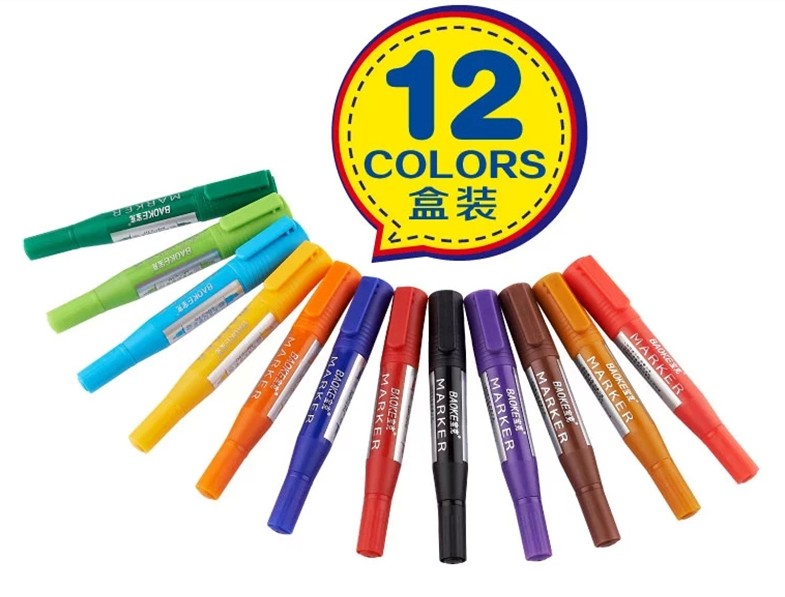 Free shipping baoke mp-210 double marker pen oil pen 12 colors mike pen/pop advertising pen set