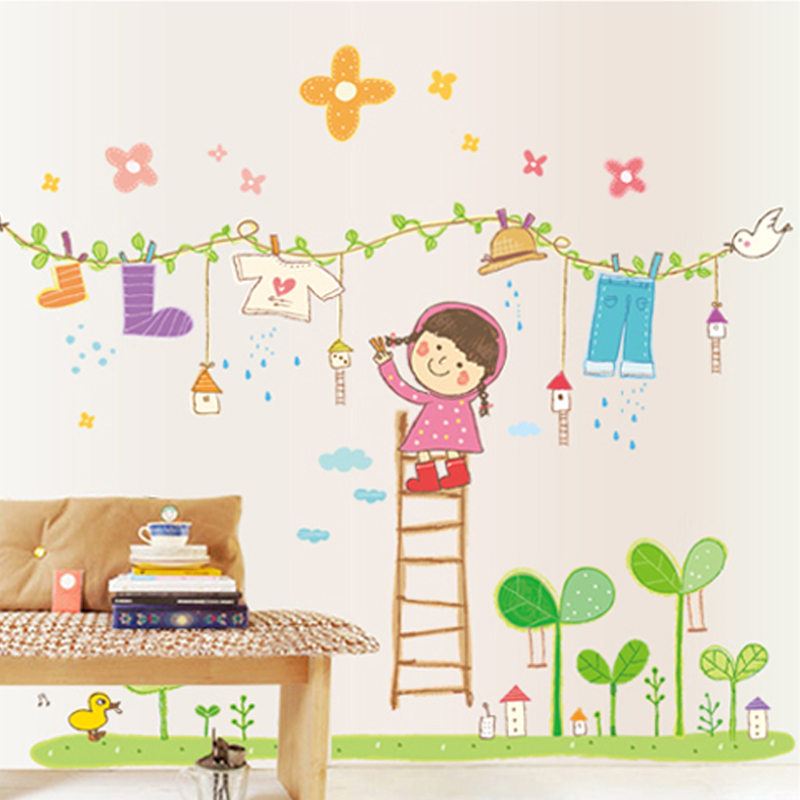 Free shipping cool clothing girls cartoon baby room wall stickers children's room girl bedroom bedside cute decorative stickers
