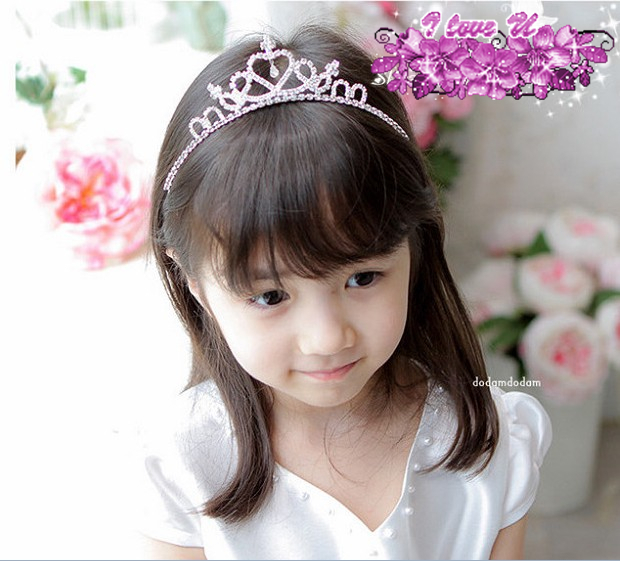 Free shipping crystal diamond tiara crown headband children headband girls hair accessories for girls silver crown princess