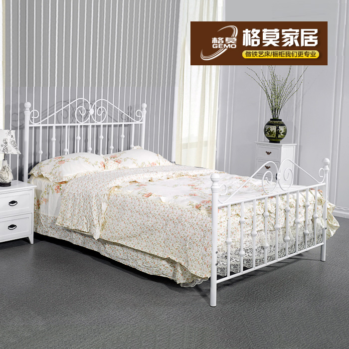 Free shipping gemo simple wrought iron double bed 1.8 twin bed children's bed 1.5 m metal frame bed tiechuang mediterranean