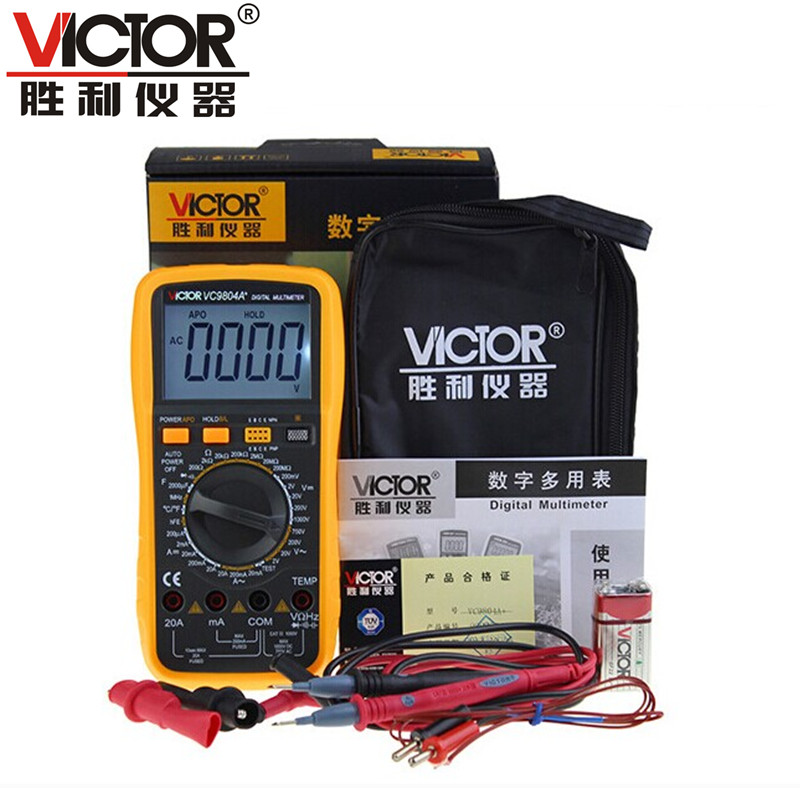 Free shipping! genuine victory vc9804a + digital multimeter with temperature frequency firewire judgment function