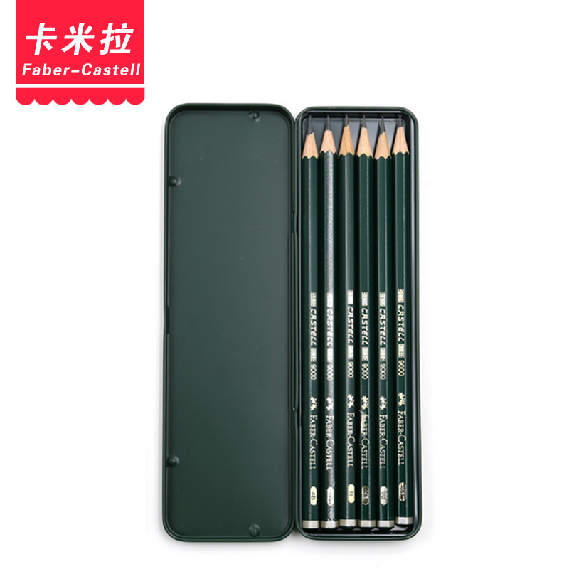 Free shipping germany faber 9000 pencil sketch drawing pencil artist grade 6 green tin suit 119063