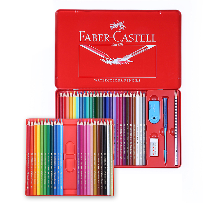 Free shipping germany faber red color of lead soluble tin 24/36/48 color tin soluble color pencil