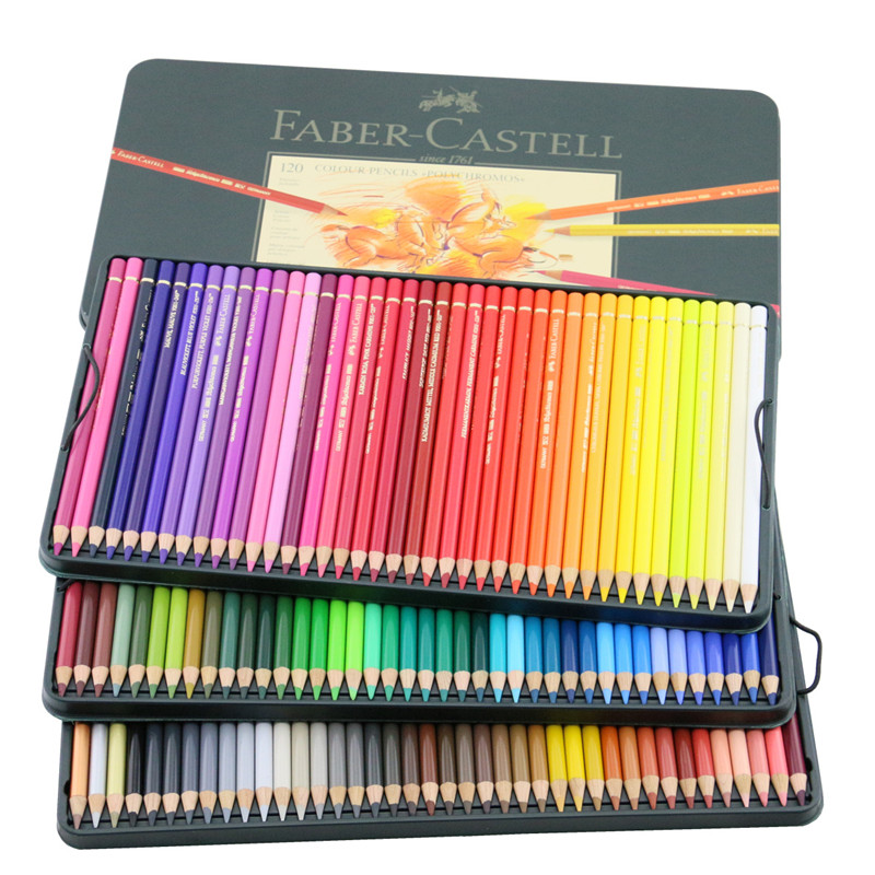 Free shipping germany imported faber green tin 120 color oil color pencil artist grade oily color of lead