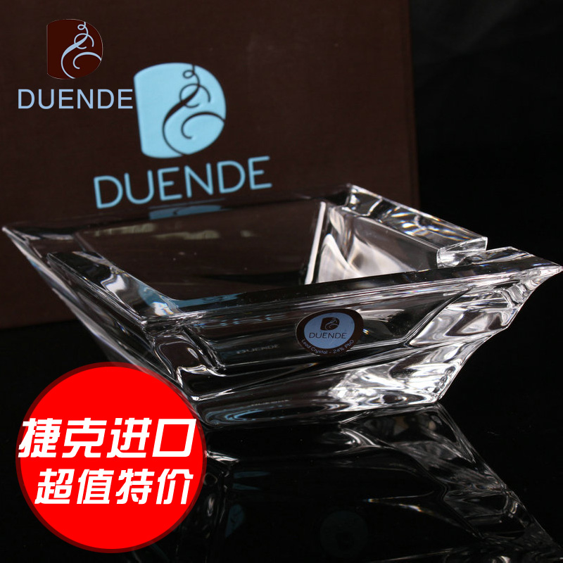 Free shipping imported czech duende fashion diamond crystal glass ashtray european creative personality continental