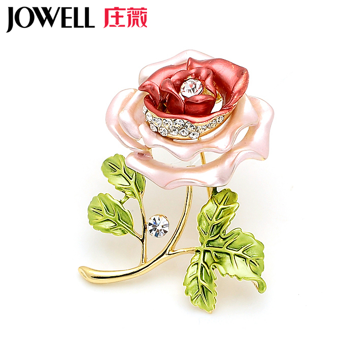 Free shipping jewelry accessories female suit new fashion alloy diamond rose corsage brooch pin brooch korean version of 489