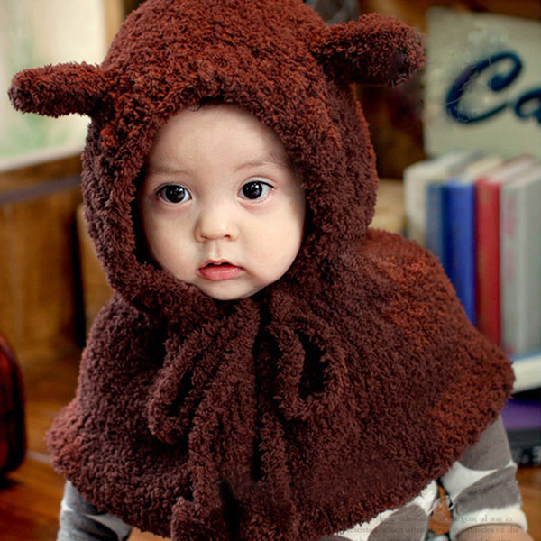 bf0c2751936 Get Quotations · Free shipping korean version of the autumn and winter  shawl siamese children hat boys and girls
