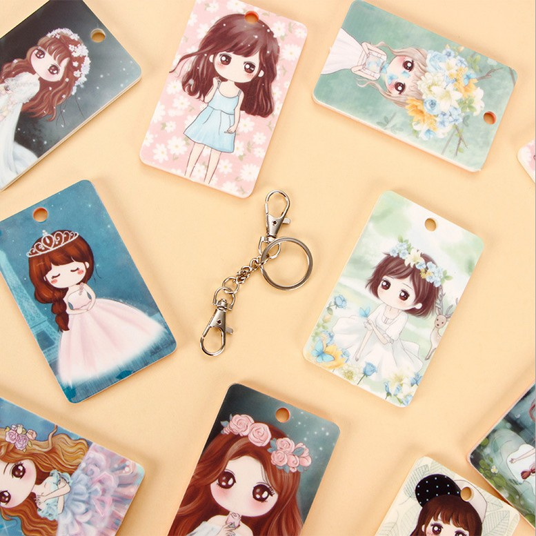 Free shipping korean version of the creative cute cartoon meng sister series female student card pack card sets bank card bus card sets