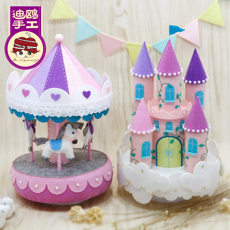 Free shipping music box music box girls gift free cutting di gull handmade diy fabric material package