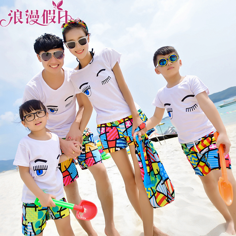 41b706e734 Get Quotations · Free shipping paternity couple family fitted t-shirt  seaside tourist resort beach lovers beach pants