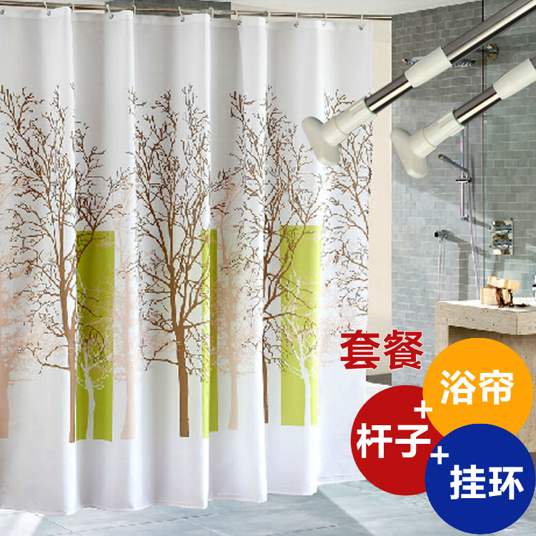 Free shipping polyester shower curtain thick waterproof mildew shower curtain curtain curtain partition curtain shower curtain rod send plus ring suit